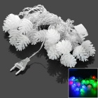 Pine Cone Style EU Plug 3W 20-LED Decorative Light String RGB - White (AC 220V / 4m)