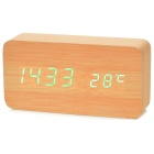 Li&Tai SLT-6035E Green Light Wooden Digital LED Desk Clock w/ Calendar / Thermometer / Voice Alarm