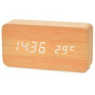 Li&Tai SLT-6035E White Light Wooden Digital LED Desk Clock w/ Calendar / Thermometer / Voice Alarm