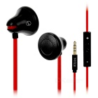 Mrice E100A Universal Bell Shaped Earbuds 3.5mm Plug Earphones Headset w/ Mic & Remote - Black + Red