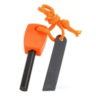 Outdoor Camping Survival Fire Starter Flintstone Magnesium Rod w/ Scraper & Strap - Orange (M)