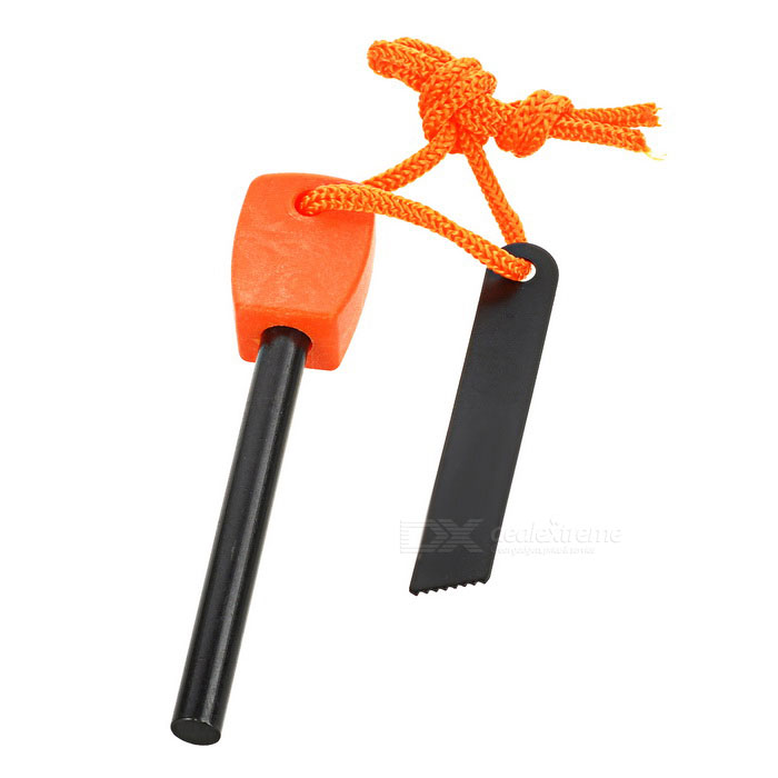 FURA Outdoor Survival Fire Starter Flintstone Magnesium Rod - Orange
