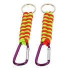 Outdoor Survival Bracelet Style 7-Strand Cord Paracord Keychain w/ Carabiner (2pcs)