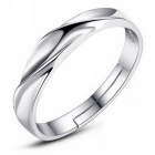 eQute Fashion 925 Sterling Silver Ripple Wave Adjustable Women's Finger Ring - Silver (US Size 5.5)