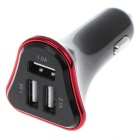 4.1A 3-Port USB Universal Quick Plating Edge Car Charger Adapter - Red + Black (12~24V)
