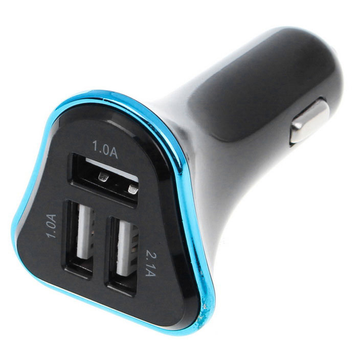4.1A 3-Port USB Quick Plating Edge Car Charger Adapter - Blue + Black