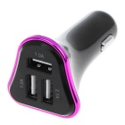 4.1A 3-Port USB Quick Plating Edge Car Charger Adapter - Purple+Black