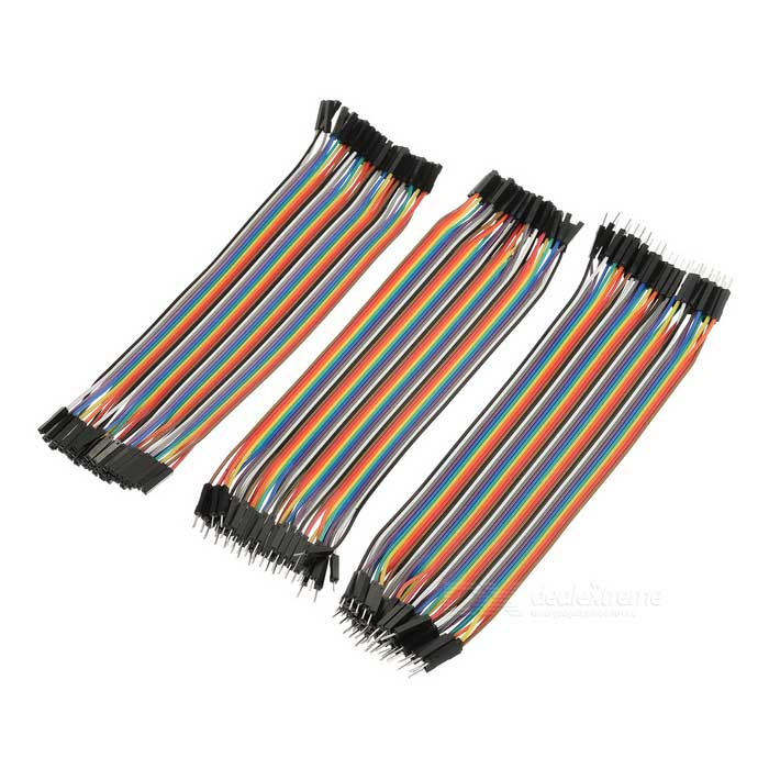 DIY 40pin Female to Female + Male to Male + Female to Male Jumper Cable Set - Multicolor (21cm)DIY Parts &amp; Components<br>Quantity1 DX.PCM.Model.AttributeModel.UnitForm ColorOthers,MulticolorMaterialPVCEnglish Manual / SpecNoCertificationNoPacking List3 x Jumper cables (21+/-2cm)<br>