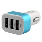 QC 2,0 snel opladen 3-Port USB auto-adapter lader - wit + blauw