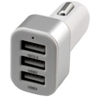 QC 2.0 Quick Charge Car Cigarette Powered 3-Port USB Car Adapter Charger - White + Silver