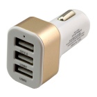 QC 2.0 Quick Charge Car Cigarette Powered 3-Port USB Car Adapter Charger - Gold + White