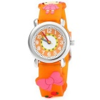 Little Red Riding Hood Style Green Silicone Children Quartz Analog Watch - Orange + Red (1 x SR626)