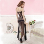 Women's Sexy Lingerie See-Through Lace Mesh Long Nightgown - Black