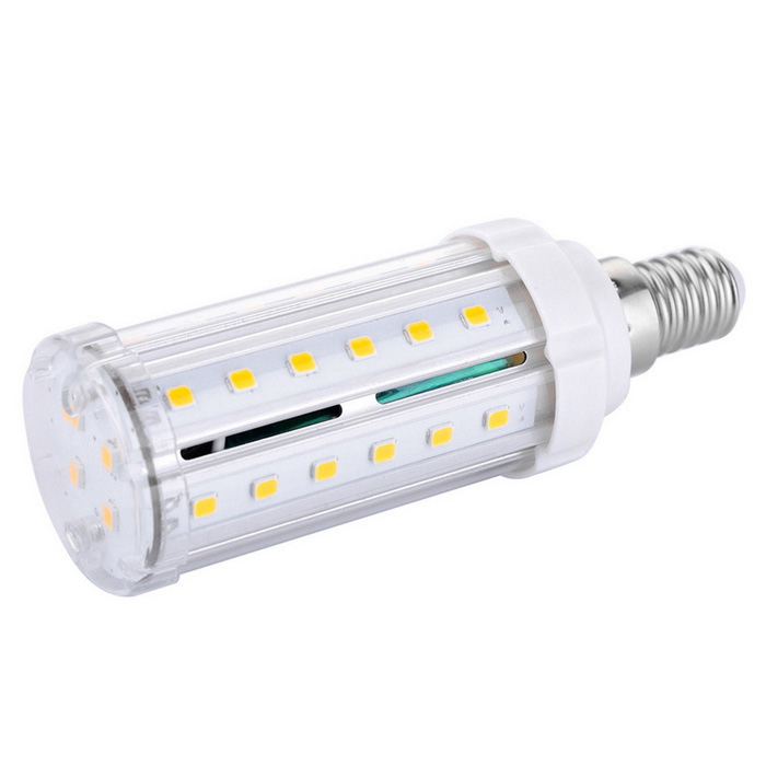 E14 9W LED Corn Light Bulb White 3000K 800lm 40-SMD - White + Orange