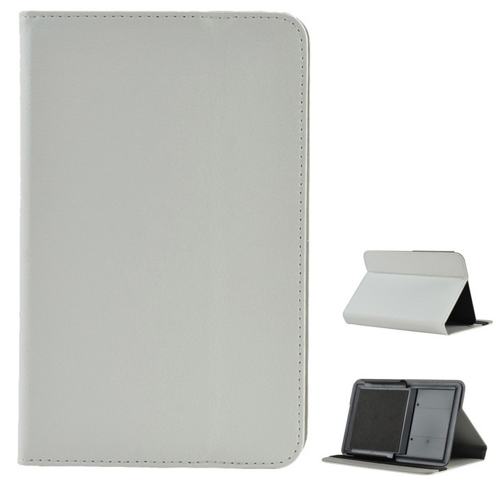 "Universal Lychee Pattern PU Case w/ Stand for 7"" Tablet - White"