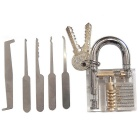 Transparent Lock + 5-Piece Lockpicks Training Tool Set - Transparent + Silver