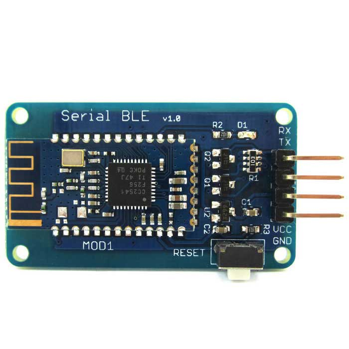 Wireless Serial BLE Bluetooth V4.0 Transceiver Module for ArduinoTransmitters &amp; Receivers Module<br>Form ColorBlue + BlackModelN/AQuantity1 DX.PCM.Model.AttributeModel.UnitMaterialPCB + AlloyFrequency2.4GHzWorking Voltage   3.2-5.5 DX.PCM.Model.AttributeModel.UnitWorking Current8.5 DX.PCM.Model.AttributeModel.UnitEnglish Manual / SpecYesDownload Link   http://pan.baidu.com/s/1eQrUsJwPacking List1 x Serial BLE module<br>