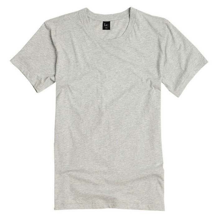 Men's Fashion Simple Short-Sleeved Round Neck Plain T-Shirt - Grey (L)