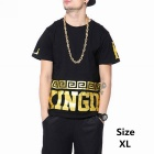 Men's Gold Letters Printing Hipop Cotton Short Sleeve T-shirt - Black (XL)