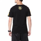 Men's Gold Letters Printing Hipop Cotton Short Sleeve T-shirt - Black (L)
