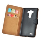 Mini Smile Flip-Open Leather Case w/ Card Slots for LG G4 - Black