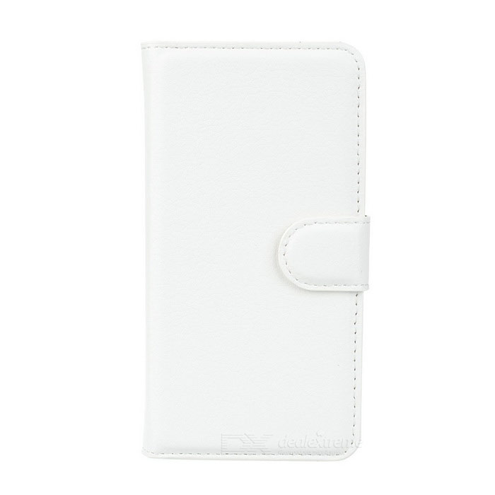 Lichee Pattern PU Case w/ Stand, Card Slots for Samsung A3 - White