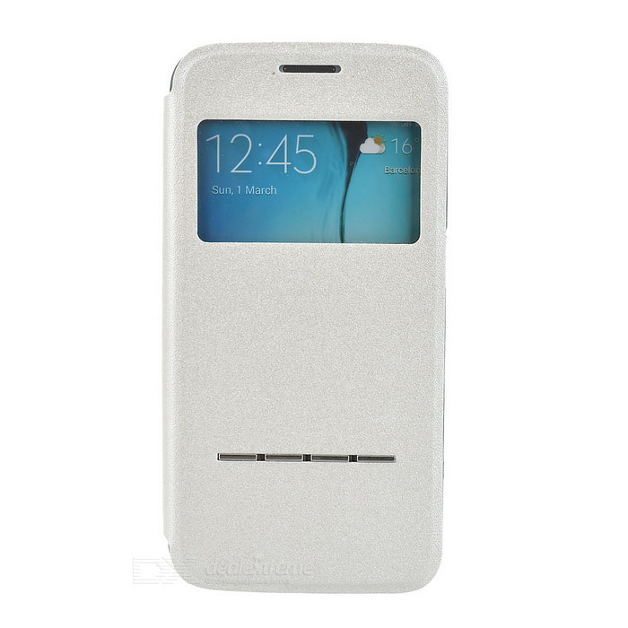 Flip-Open PU Case w/ Visual Window for Samsung Galaxy S6 Edge - White