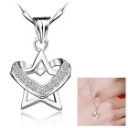 eQute PSIW40C1 S925 Sterling Silver Star & amp; Heart Shaped Anhänger Halskette - Silber