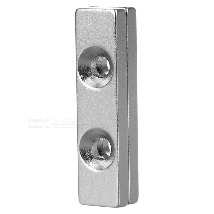 40*10*4mm NdFeB Magnets w/ Holes - Silver (2PCS)