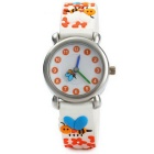 3D Cartoon Bees + Flowers Pattern Silicone Band Quartz Analog Wrist Watch for Kids - White