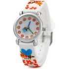 3D Bees + Flowers Pattern Quartz Analog Watch for Kids - White