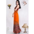 Summer Peacock Bohemia Deep V Neck Long Beach Dress - Orange