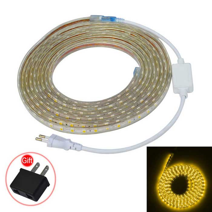 JIAWEN Waterproof 30W 2400lm Warm White 300-SMD 5050 Strip (220V / 5m)
