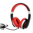 Kanen i20 Wired Foldable Headband Stereo Headphone w/ 3.5mm Jack - Black + Red