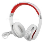 Kanen i20 Wired Foldable Headband Stereo Headphone w/ 3.5mm Jack - White + Red
