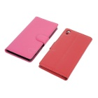 Lichee Pattern PU Case w/ Stand for Xperia Z4 - Red + Deep Pink (2PCS)
