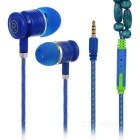 Universal Necklace Style 3.5mm Plug Wired In-Ear Earphones w/ Mic / Remote - Blue