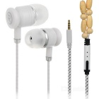 Universal Necklace Style 3.5mm Plug Wired In-Ear Earphones w/ Mic / Remote - White + Yellow