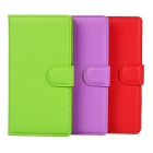 Flip-Open Protective PU Case w/ Magnetic Buckle / Card Slot for Sony - Purple + Green + Red (3 PCS)