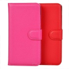 Lichee Pattern PU Case w/ Stand & Card Slots for Huawei G630 - Red + Deep Pink (2 PCS)