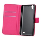 Lichee Pattern Case w/ Stand for Huawei G630 - Red + Deep Pink (2 PCS)