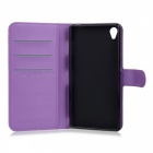Lichee Pattern Case w/ Card Slots for Sony Z3 - Purple + Green (2PCS)