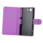 PU Case w/ Card Slots for Sony Z4 Compact - Purple + Green (2PCS)
