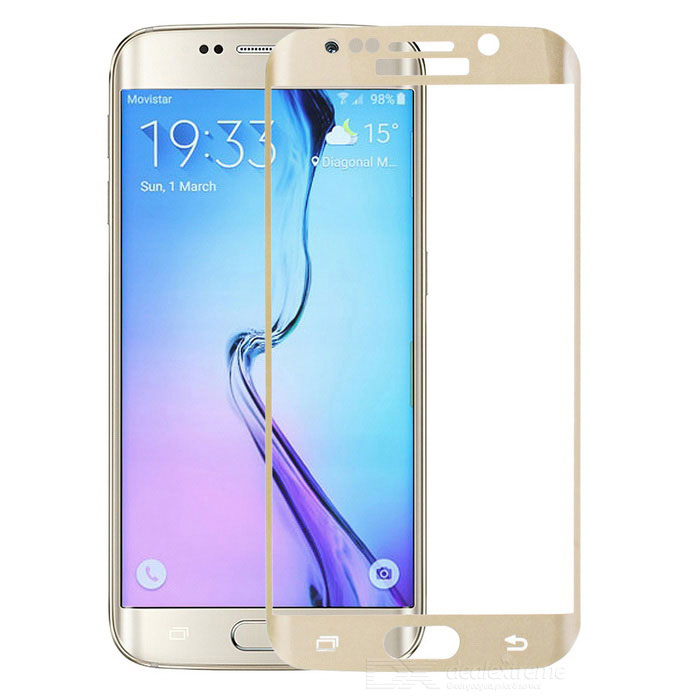 Mini Smile Tempered Glass Full Screen Film for Samsung S6 Edge - GoldScreen Protectors<br>Form  ColorGolden + TransparentScreen TypeGlossyModelN/AMaterialTempered glassQuantity1 DX.PCM.Model.AttributeModel.UnitCompatible ModelsSamsung Galaxy S6 EdgePacking List1 x Screen guard1 x Alcohol prep pad1 x Dust remover1 x Cleaning cloth<br>