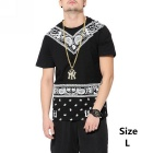 Men's Short-sleeved Round Neck Printing Hipop T-Shirt - Black (Size L)