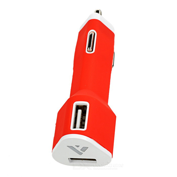 Universal 5V 2.1A Dual-USB Car Cigarette Lighter Charger - Red