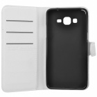 Lychee Pattern PU Case w/ Card Slots for Samsung Grand Prime - White