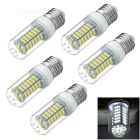 E27 9W LED Corn Lamps White Light 6450K 600lm 108-SMD 3528 - White + Beige (AC 220V / 5 PCS)