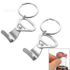 Creative Can Ring Pull Style Zinc Alloy Bottle Opener Keychains - Silver (2 PCS)
