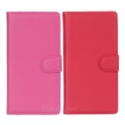 Lichee Pattern Protective PU Case w/ Stand & Card Slots for Sony Xperia Z3 - Red + Deep Pink (2 PCS)